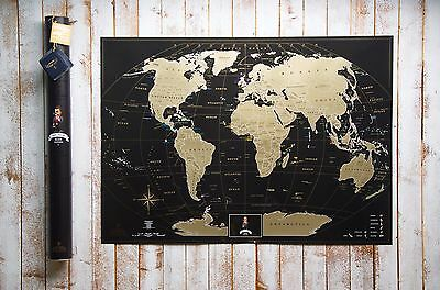 Premium Gift Gold-Black World Scratch off Map,Personal travel map, Push pin map