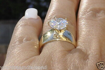 Solid 14k Yellow Gold Round Solitaire Man Made Diamond Engagement Ring 3 ct