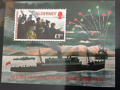 50th anniversary of return of islanders to Alderney WW2 stamp sheet MNH
