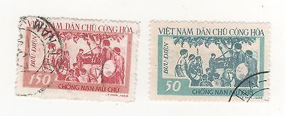 1958 North VIETNAM Education Campaign x 2 stamps to 150d. fv SG#N75-N76  USED