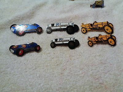 Six Indiana Jaycee Race Car Pins---hat pins-- lapel pins--stick pins