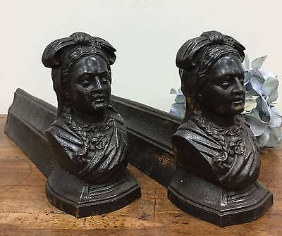 Pair of Antique Fireplace Andirons-  French Chenets  Iron Fire Dogs - L207