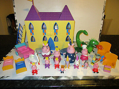 Peppa Pig Bundle, Castle House, Dragon, Chariot & 13 various Characters