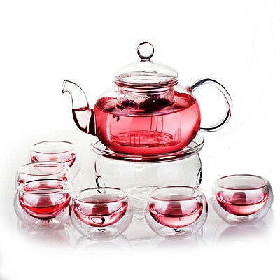 Heat Resistant Elegant Glass Tea Pot Set Infuser Teapot+Warmer+6 Double Wall Tea