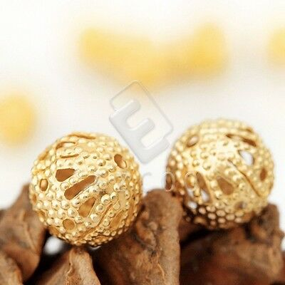 65pcs Metal Spacer Beads Round Jewelry Making Iron 8mm Gold 0.8mm Hole DIY