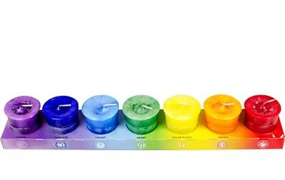 SET OF 7 CHAKRA VOTIVE CANDLES (imperfect)