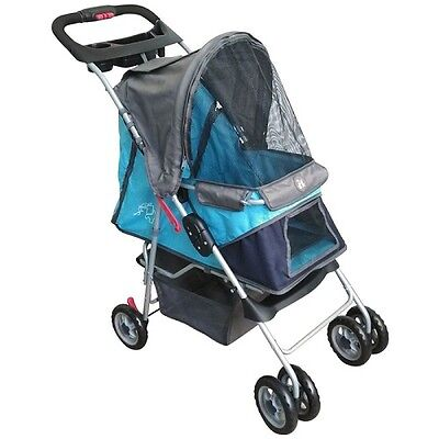 Dog Buggy Stroller Pet Small Walks Transport Up to 15kg Navy Grey Travelling