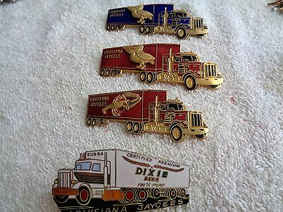 Four Louisiana Jaycee Truck Trading Pins------Hat Pins----Lapel Pins
