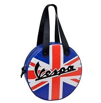 New! Genuine Vespa Circular Side Bag - Scooter Wheel Shaped! - British Flag