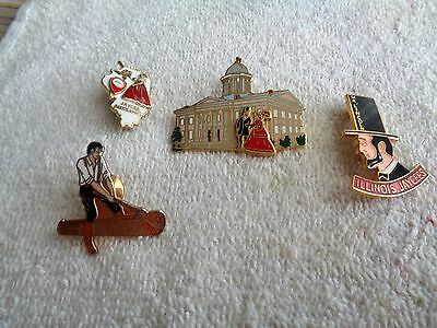 Four Illinois Jaycee Tradin Pins--- Hat Pins-- Lapel Pins--- Stick Pin