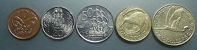 New Zealand 5 coin set, 1990-2011 10, 20, 50 cents and 1, 2 dollars