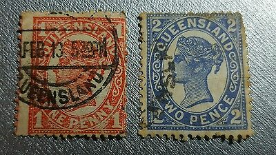 Queensland 1897 used  1 & 2d stamp lot with watermark