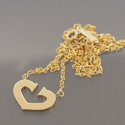 Cartier 18K Yellow Gold C Heart Necklace Pendant With Certificate And Box