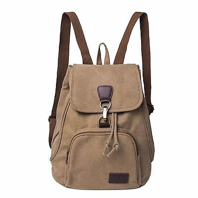 Khaki Women Fashion Canvas Hiking Travel Rucksack Shoulder Bag Backpack Satchel