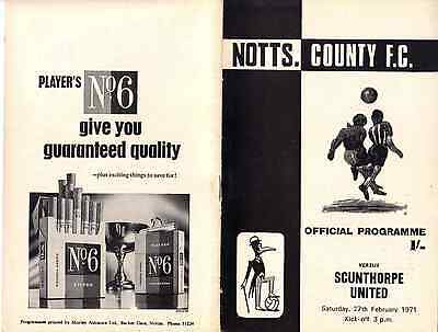 Notts County v Scunthorpe United. Division 4. Saturday,27th, February, 1971.