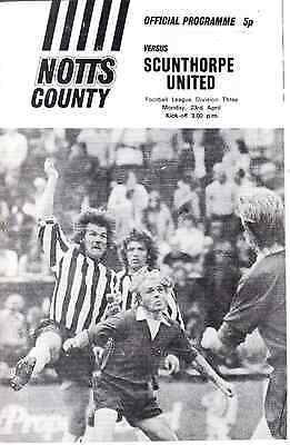 Notts County v Scunthorpe United. Division 3. Monday,23rd, April, 1973.