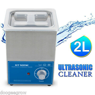 New 2L Liter Stainless Steel Ultrasonic Cleaner Industry Heated Heater Timer US