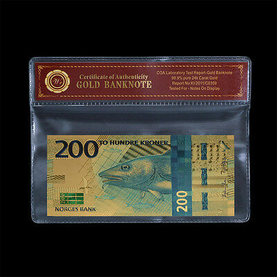 WR 2017 Norway Norwegian 200 Kroner Banknote Colourful Gold Bill In Sleeve