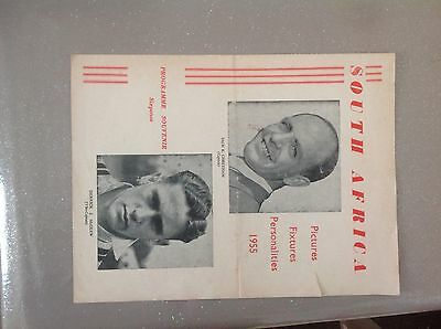 South Africa 1955 Four Page Glossy Souvenir Programme Published by Walker London