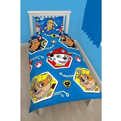 OFFICIAL Paw Patrol Rescue Kids Reversible Duvet Quilt Cover Single Twin Bed