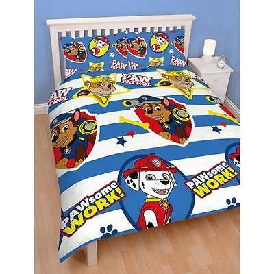 OFFICIAL Paw Patrol Pawsome Kids Reversible Duvet Quilt Cover Double Full Bed