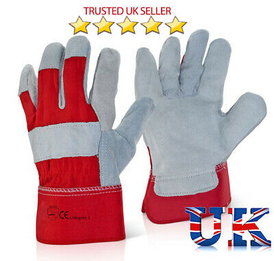 10 x Red Rigger Double Palm Heavy Duty Gauntlet Canadian Leather Work Gloves