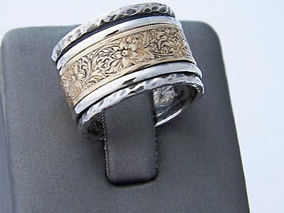 Hand Made Hammered 3 band.925 Sterling Silver and Brass Spinner Ring-Custom Size