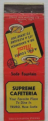 Antique Matchbook Cover Supreme Cafeteria Truro Nova Scotia