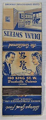 Antique Matchbook Cover Diana Sweets King St Brockville Ontario