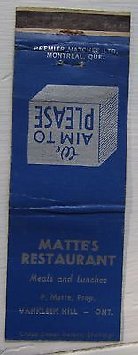 Antique Matchbook Cover Matte's Restaurant Vankleek Hill Ontario