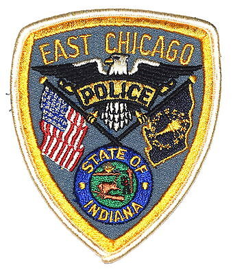 EAST CHICAGO INDIANA IN Police Sheriff Patch STATE SEAL BUFFALO VINTAGE OLD MESH
