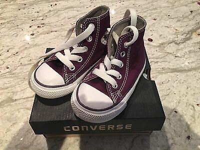 Converse Toddler High Tops Purple Sneakers Runners Boy Girl Size 5 -New In Box!