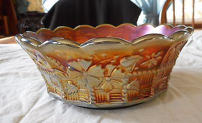 "Rare Northwood Green Carnival Glass Springtime Pattern 8"" Master Berry Bowl"