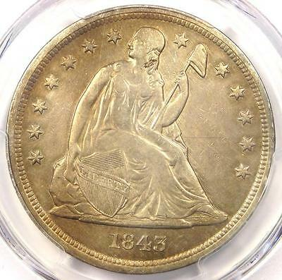 1843 Seated Liberty Silver Dollar $1 - PCGS AU Details - Rare Early Date Coin!