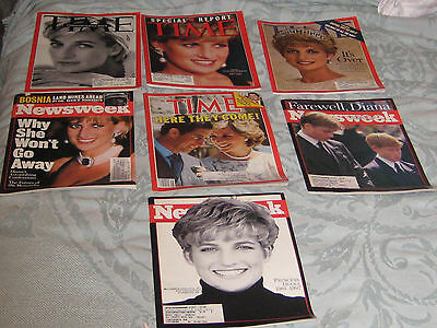 Time and Newsweek Magazines Princess Diana of Wales Issues-Lot of 7