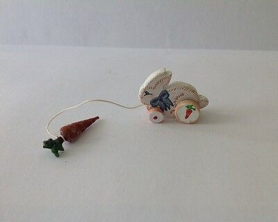 """Dollhouse Miniature Bunny Pull Toy Artisan 1/12"""" Scale"""