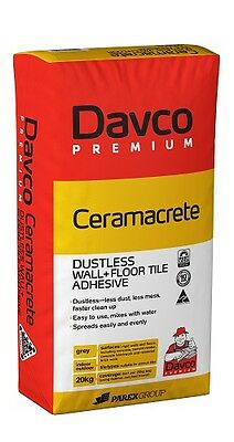 Ceramacrete Dustless 20Kg Tile Adhesive Glue Bed Cement Davco Premium Bond Wall