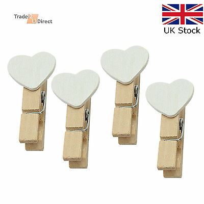Mini Wooden Pegs with White Hearts Craft Wedding Hanging Photo Clips Wooden
