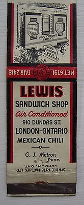 Antique Matchbook Cover Lewis Sandwich Shop Mexican Chili London Ontario