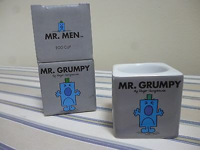 """NEW boxed Mr Men Mr Grumpy Grey Egg Cup - """"Turn That Frown Upside Down"""""""