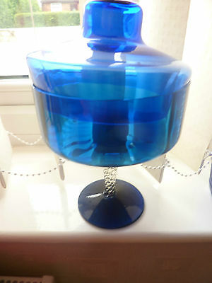Large blue  glass pedestal dish with lid