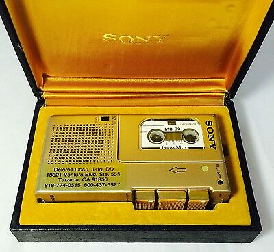 RARE Sony M-9G Gold finish vintage Microcassette Dictator Voice Recorder WORKS!