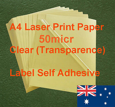 32 X A4 Clear 50micr Label Adhesive Sticker Laser Print paper( transparence )
