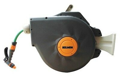 Retractable Hose Reel With 20m Fitted Garden Holman Wall Fence Mount Holder Tidy