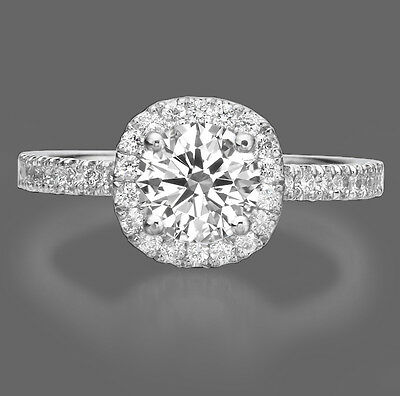 1.00 CT Real Round Cut Diamond Engagement Ring F/SI1 18K White Gold Enhanced