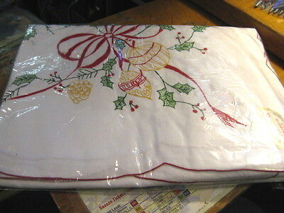 Vintage Embroidered Christmas Tablecloth 64X136  100% Cotton New Old Stock