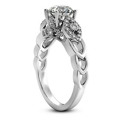 1 Ct Round Cut Diamond D/vs2 Engagement Ring 14K White Gold Enhanced