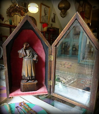 Antique 19th C Black forest Wood Carved Monk Figure in Gothic Style Case