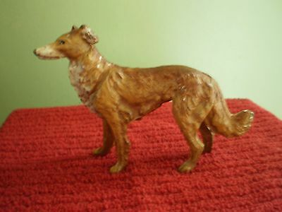 Vintage Metal Painted Russian Dog Borzoi Made In Germany