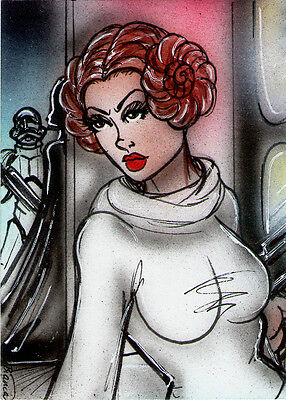 Star Wars PRINCESS LEIA Original VADER Sketch Card Painting by Bianca Thompson
